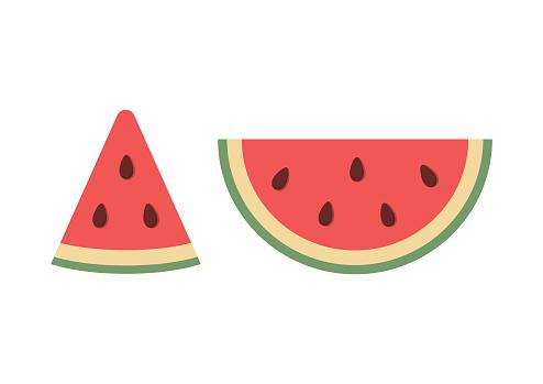 Verse Watermeloen Segment Pictogram Platte Ontwerp Vectorillustratie Stockvectorkunst en meer beelden van Achtergrond - Thema
