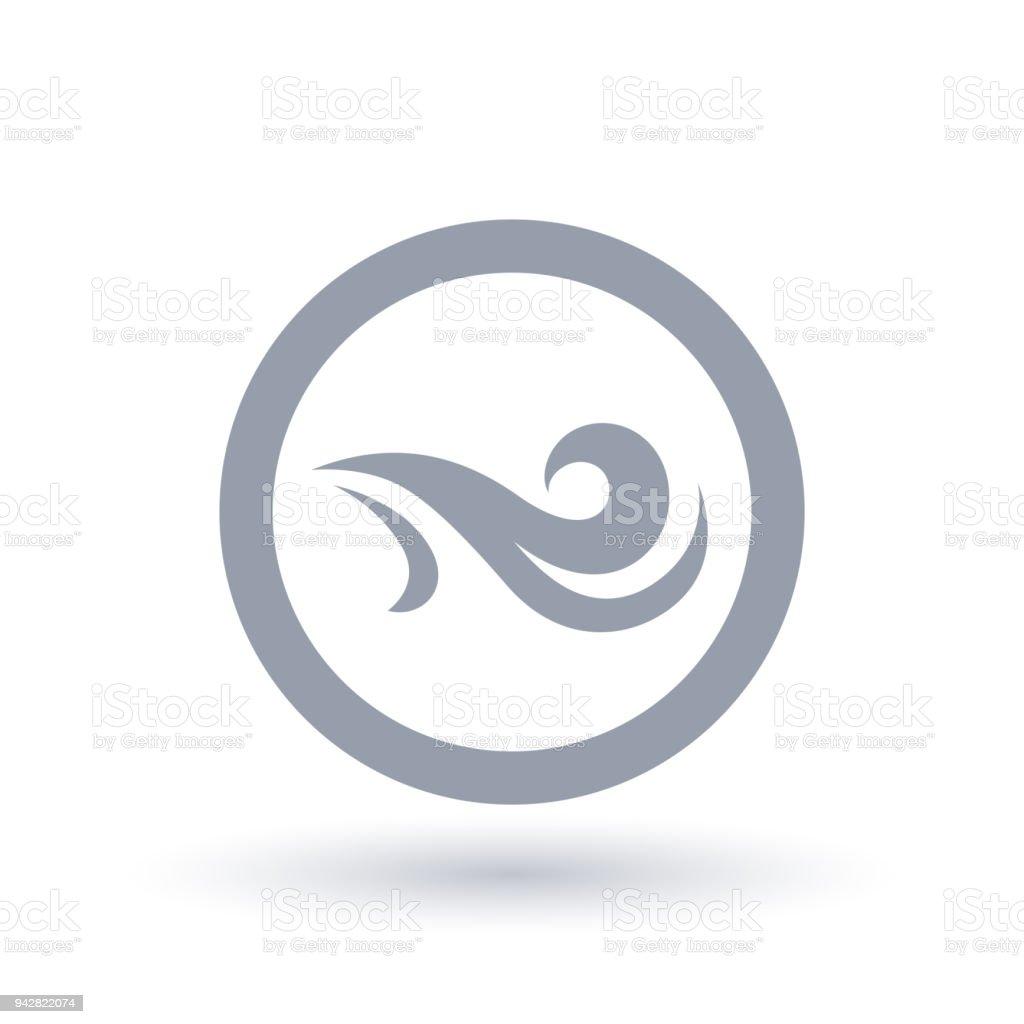 Fresh wind icon in circle. Air flow symbol.
