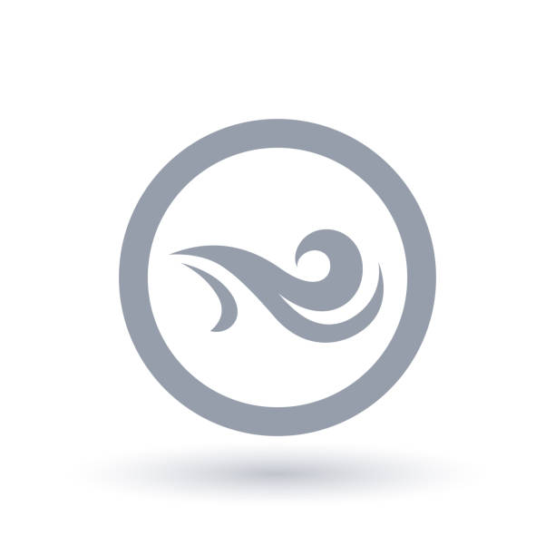 fresh wind icon in circle. air flow symbol. - breathing stock illustrations