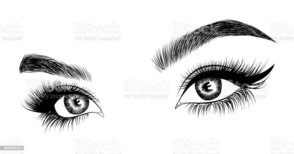 Fresh woman's eyes vector art illustration