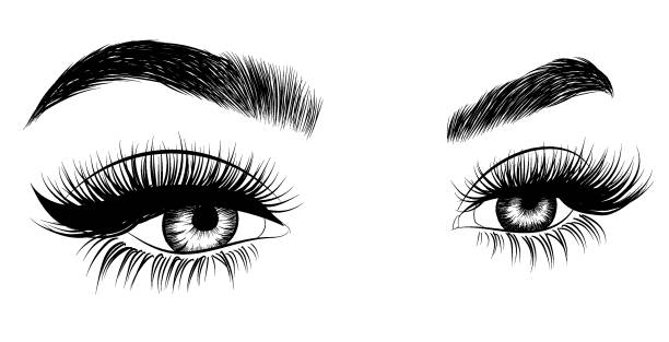 fresh woman's eyes - beauty stock illustrations, clip art, cartoons, & icons