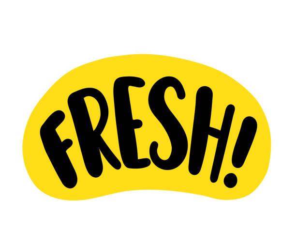 ilustrações, clipart, desenhos animados e ícones de palavra doce. texto brilhante sobre fundo branco. design de logotipo gráfico para imprimir na embalagem, pacote. ilustração vetorial - alimento orgânico