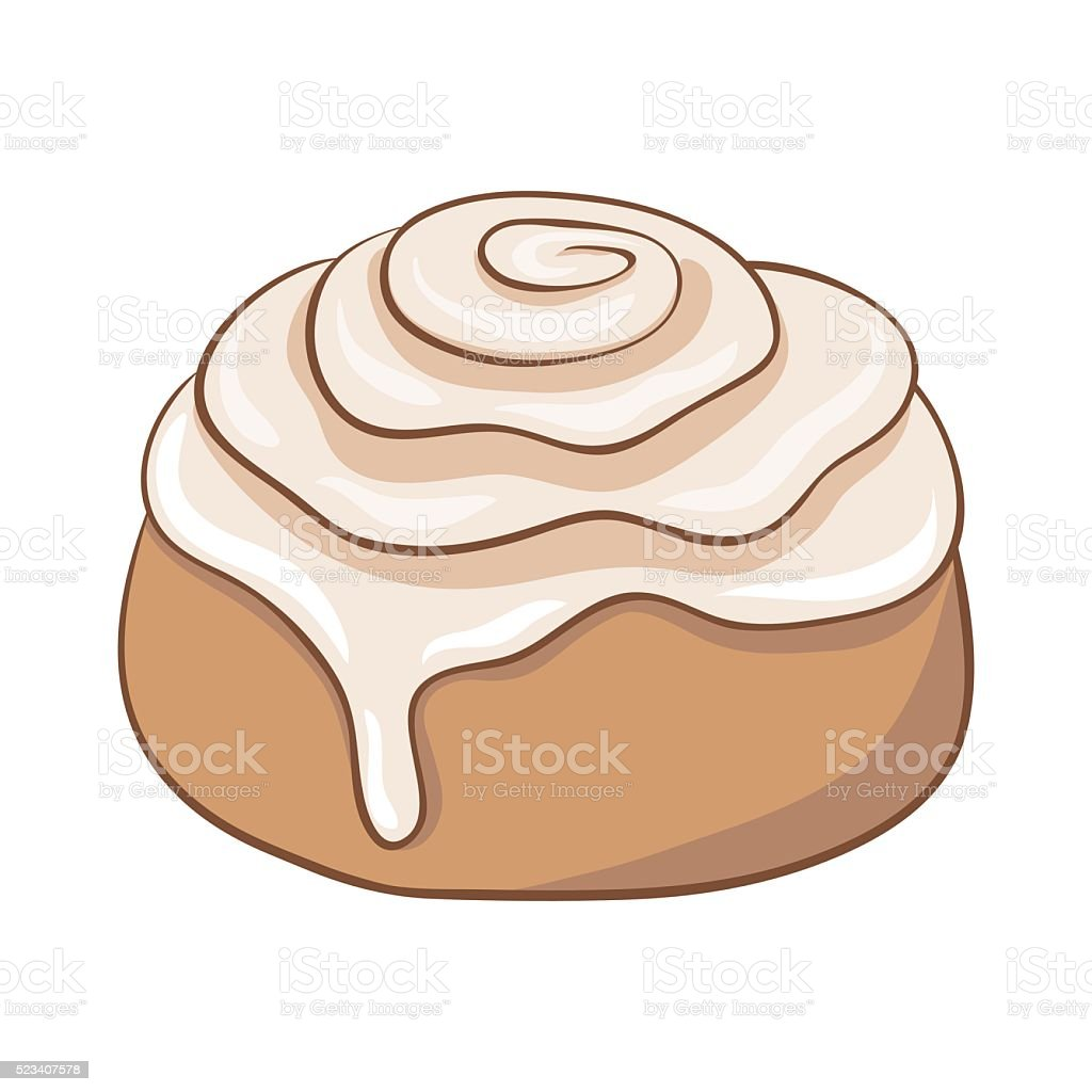 Freshly baked cinnamon roll with sweet frosting. Vector illustration. vector art illustration
