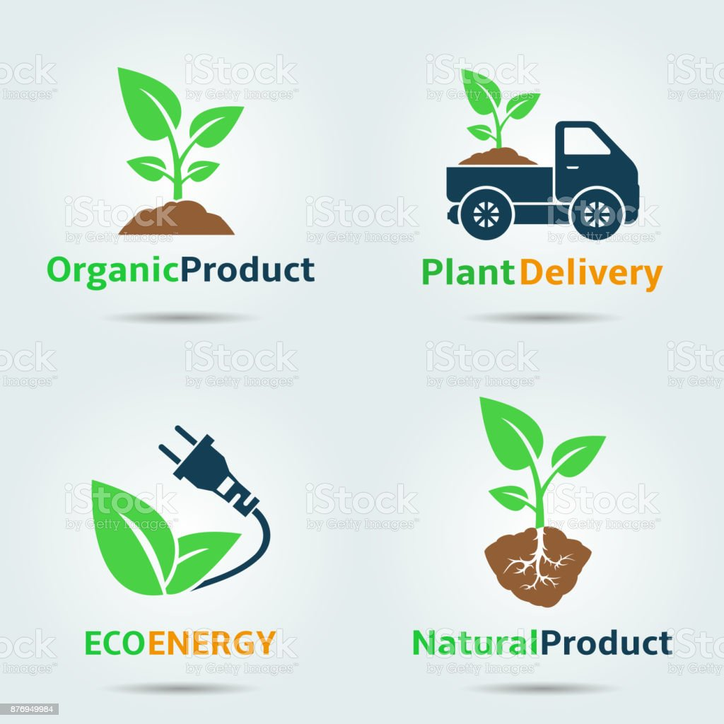 Freshly grown organic sprouts. Set of vector icon design. vector art illustration