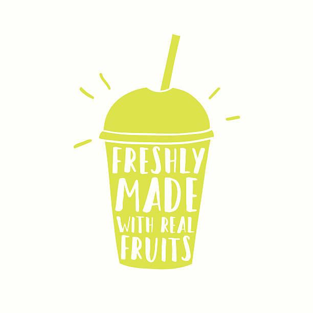 bildbanksillustrationer, clip art samt tecknat material och ikoner med freshly made with real fruits. juice or smoothie cup to - smoothie