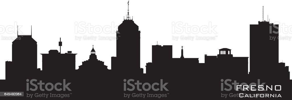 Fresno California city skyline silhouette - Illustration...