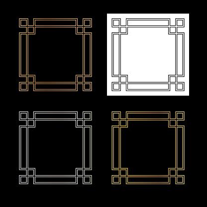 fretwork metallic vector square frames