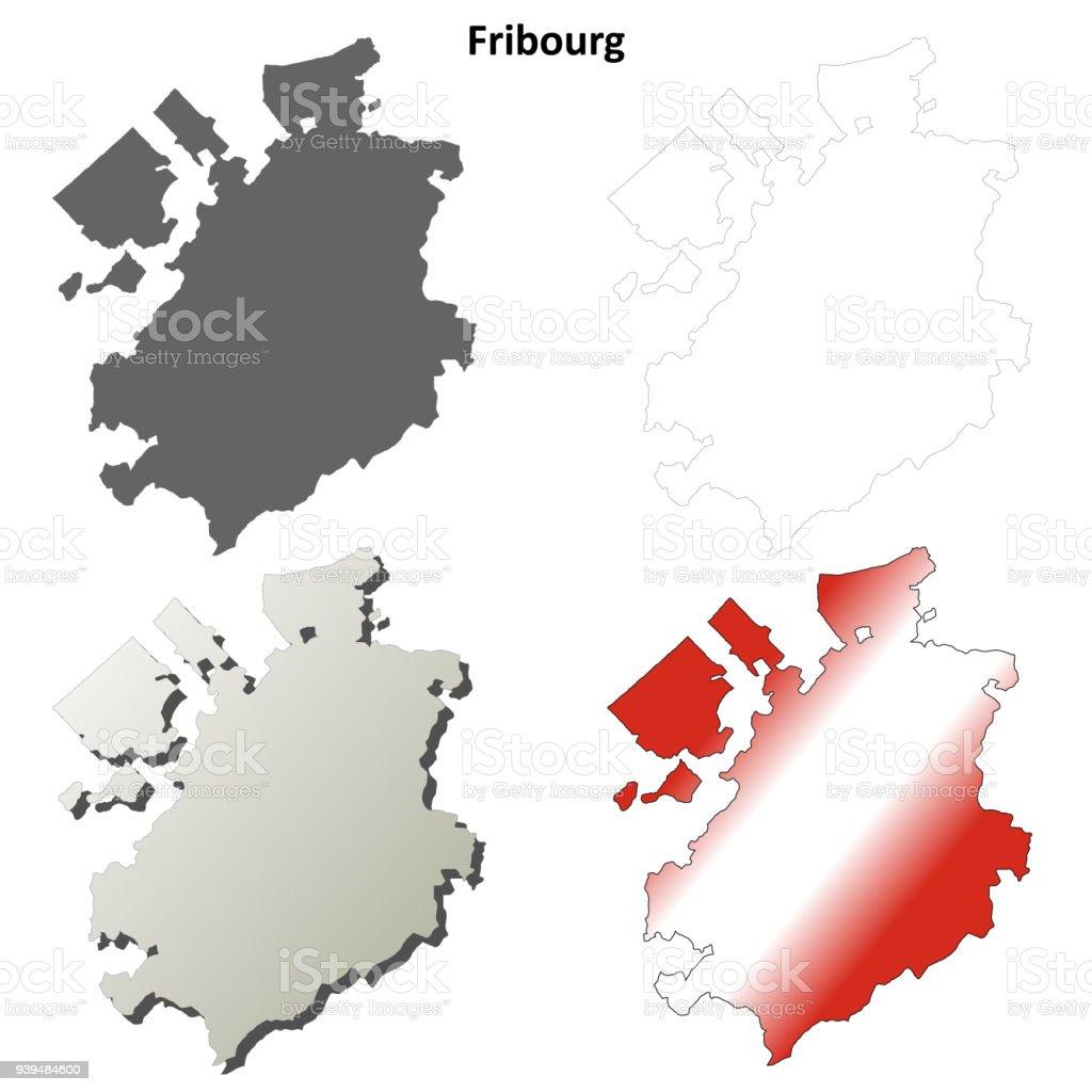 Freiburg Karte.Freiburg Leer Detaillierte Gliederung Karte Gesetzt Stock Vektor Art Und Mehr Bilder Von Begrenzung