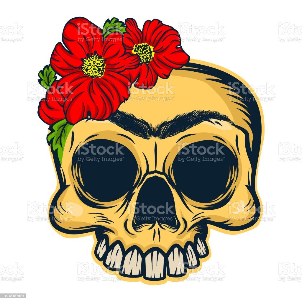 frida khalo skull mascot stock vector art more images of art