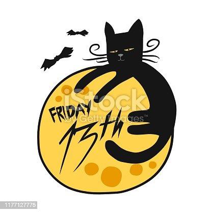 istock Friday 13th Black cat and full moon cartoon vector illustration 1177127775