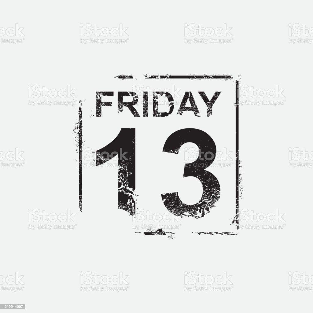Friday 13th, grunge design vector art illustration