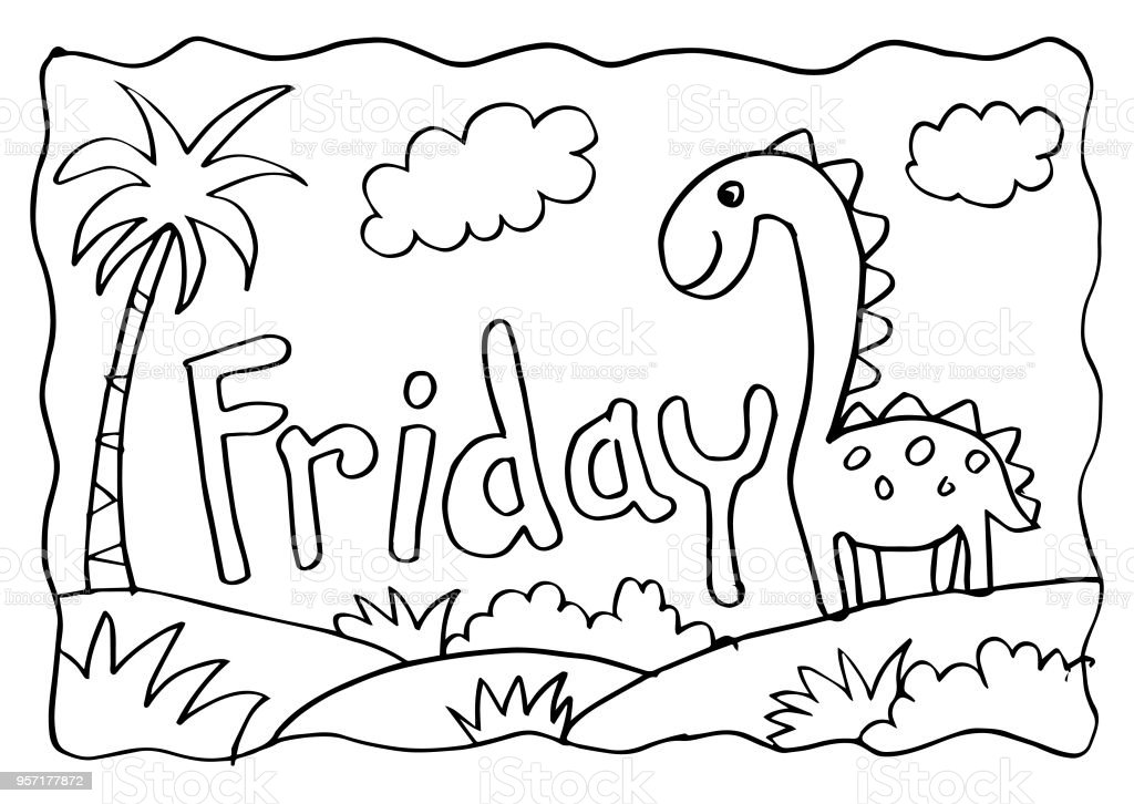 Dinozor Ile Cuma Boyama Sayfası Stok Vektör Sanatı Animasyon