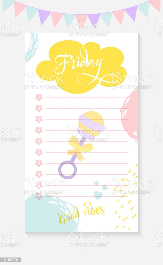 friday daily to do list for a mother of a newborn kid stock vector