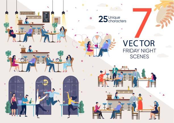illustrazioni stock, clip art, cartoni animati e icone di tendenza di friday night leisure flat vector concepts set - dinner couple restaurant