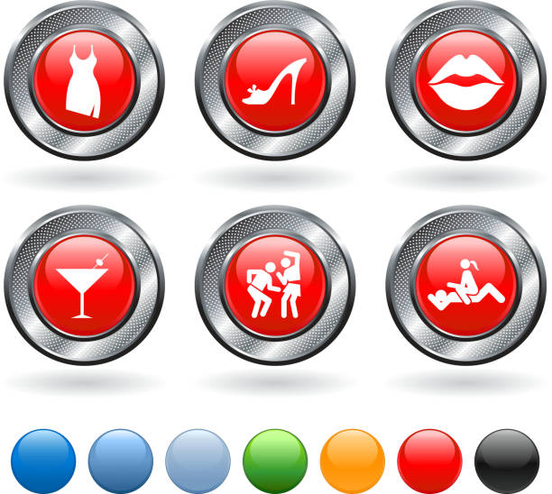 friday night vector icon set on buttons with metallic border - bachelor party stock illustrations, clip art, cartoons, & icons