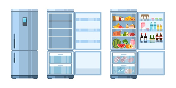 Fridge. Closed and open refrigerator with products, healthy food, water and milk, fruit and vegetable, alcohol and meat, cartoon vector concept