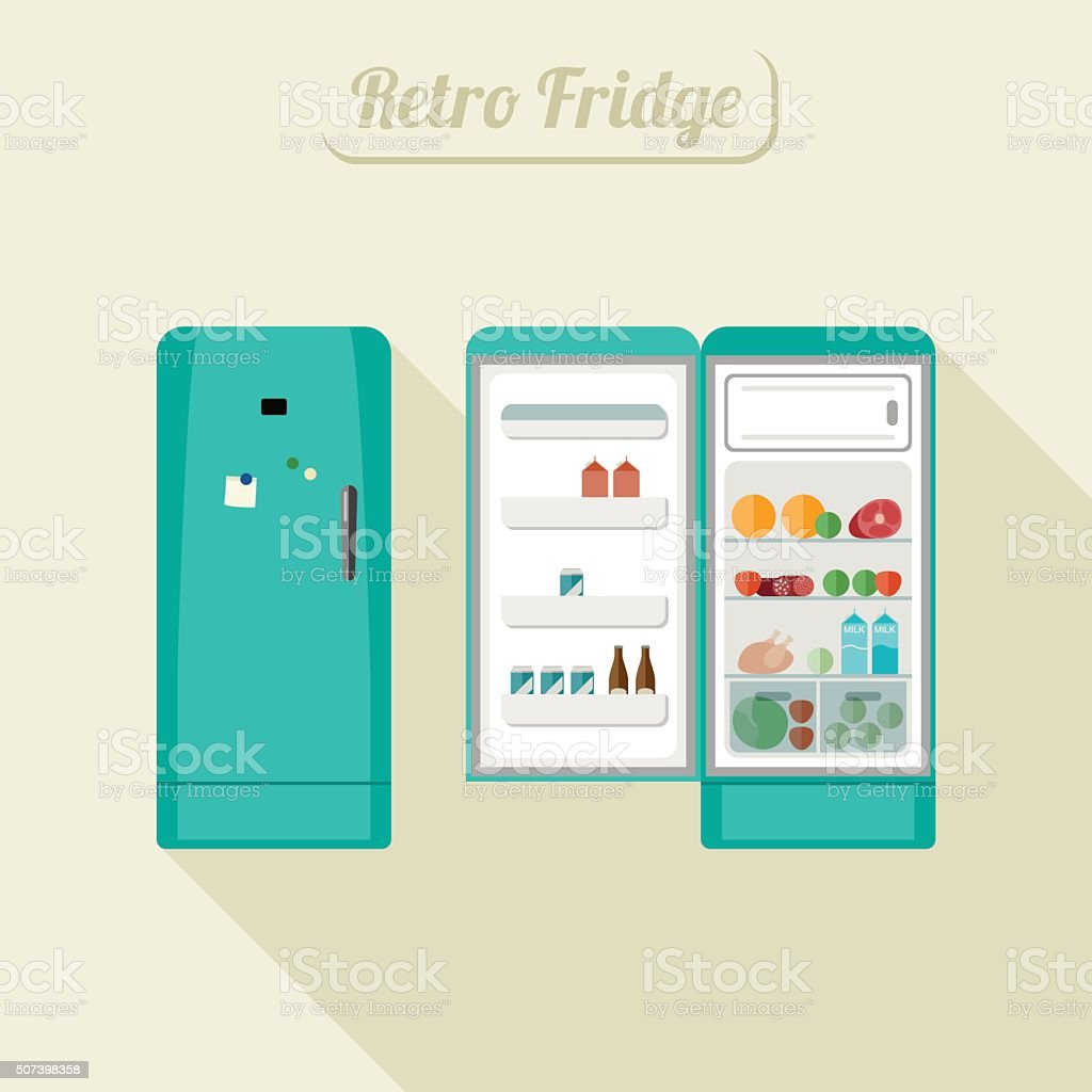 Fridge closed and open. vector art illustration
