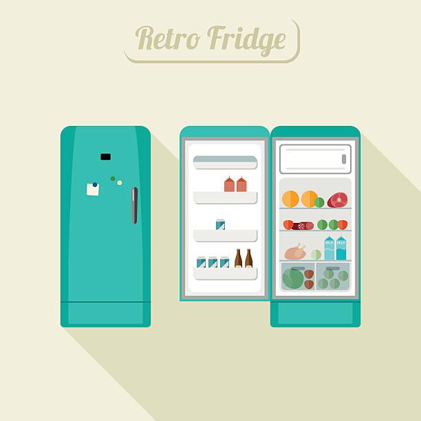 kühlschrank und ist geschlossen. - kühlschränke stock-grafiken, -clipart, -cartoons und -symbole