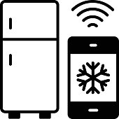 istock Fridge Control via Mobile Apps Vector line Icon Design, Internet of things symbol on white background, IoT and automation stock illustration, internet refrigerator Concept, 1318993846