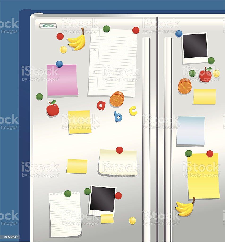 Refrigerador puerta con imanes y notepaper ilustración de refrigerador puerta con imanes y notepaper y más banco de imágenes de acero libre de derechos