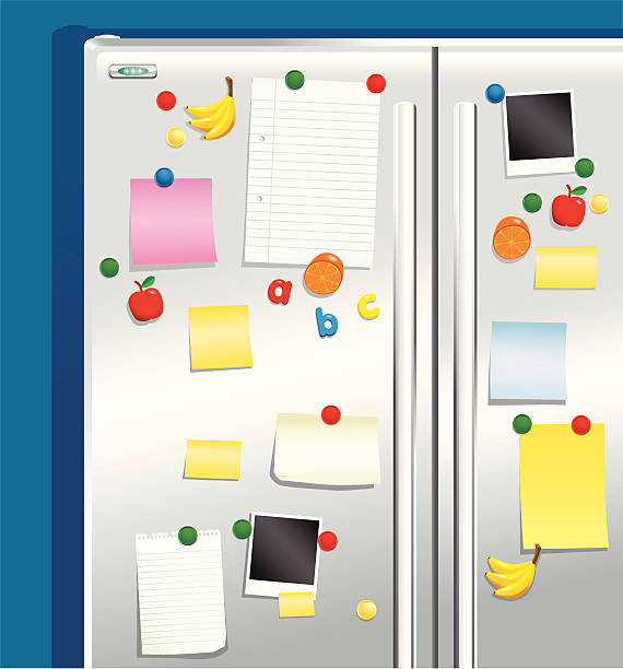 Fridge door with magnets and notepaper Metallic or stainless steel fridge freezer doors with various magnets, paper and photos pinned to them. All magnets, papers and photos are on a separate layer and completely movable. refrigerator stock illustrations