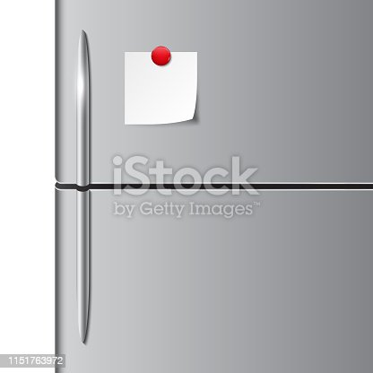 Vector illustration of fridge doors and to do list, empty paper note
