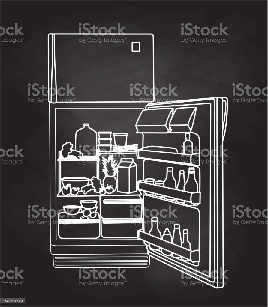 Kühlschrank voller Essen – Vektorgrafik
