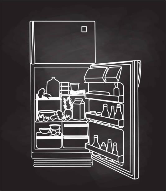 kühlschrank voller essen - kühlschränke stock-grafiken, -clipart, -cartoons und -symbole
