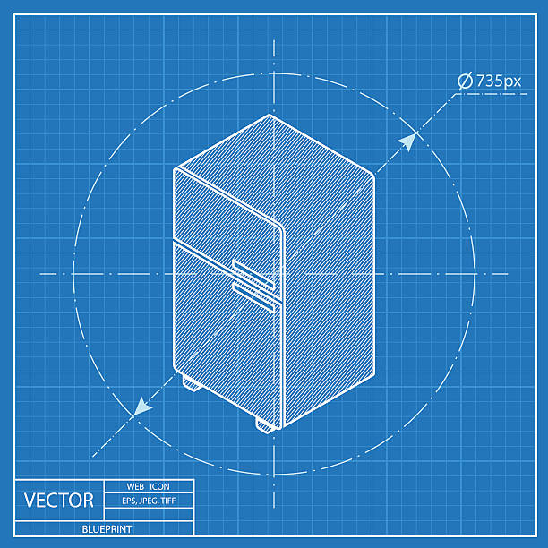 Royalty free product blueprint clip art vector images fridge isometric 3d blueprint icon vector art illustration malvernweather Image collections