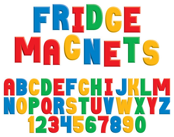 Fridge Magnet Alphabet A colorful decorative alphabet in the style of children's refrigerator magnets. refrigerator stock illustrations