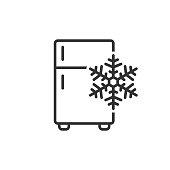 istock Fridge refrigerator icon in flat style. Freezer container vector illustration on white isolated background. Fridge business concept. 1043158350