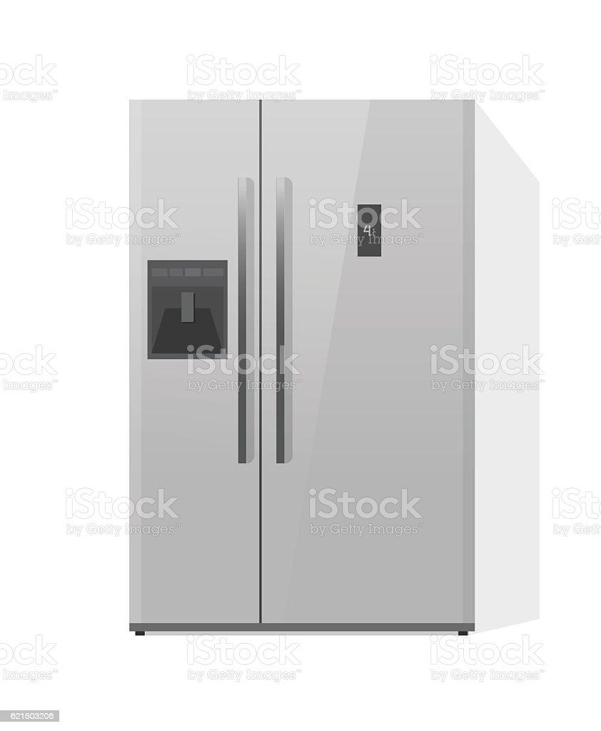 Fridge vector illustration isolated, doors refrigerator, kitchen freezer fridge vector illustration isolated doors refrigerator kitchen freezer - immagini vettoriali stock e altre immagini di bianco royalty-free