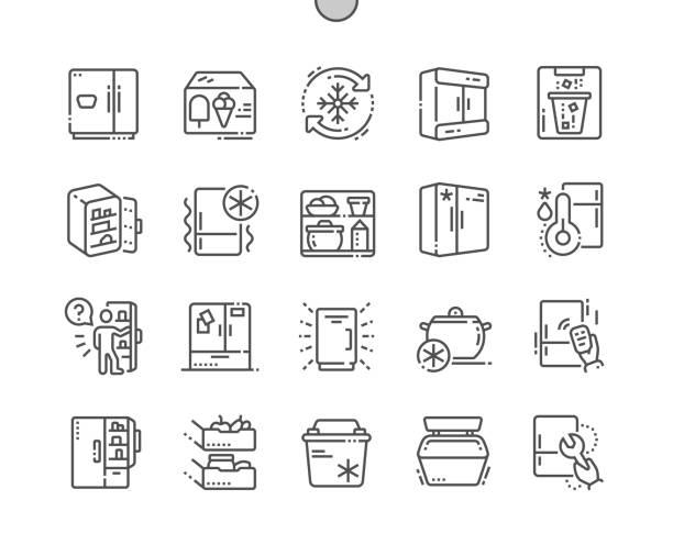 kühlschrank-gut gemachte pixel-perfekte vektor-dünne linie-icons 30 2 x grid für web-grafiken und apps. einfach nur minimale piktogramm - kühlschränke stock-grafiken, -clipart, -cartoons und -symbole