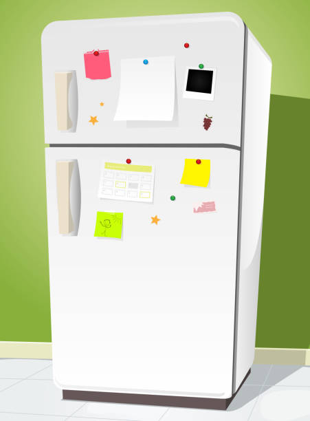 Fridge With Notes Vector illustration of a cartoon white fridge. The notes and background are on separated layers so you can easily remove them and use only the blank refrigerator. Vecto eps and high resolution jpeg files included refrigerator stock illustrations