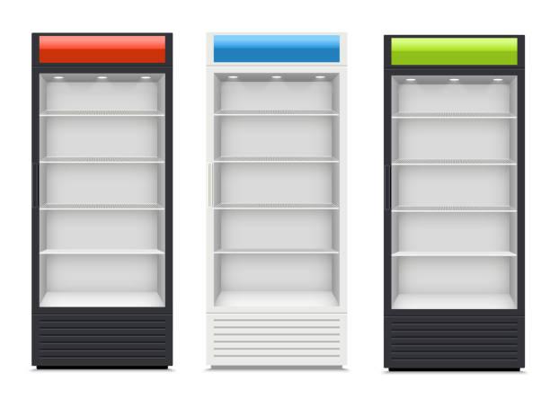 Fridges with glazed door on white background Fridges with glazed door on white background retail equipment stock illustrations