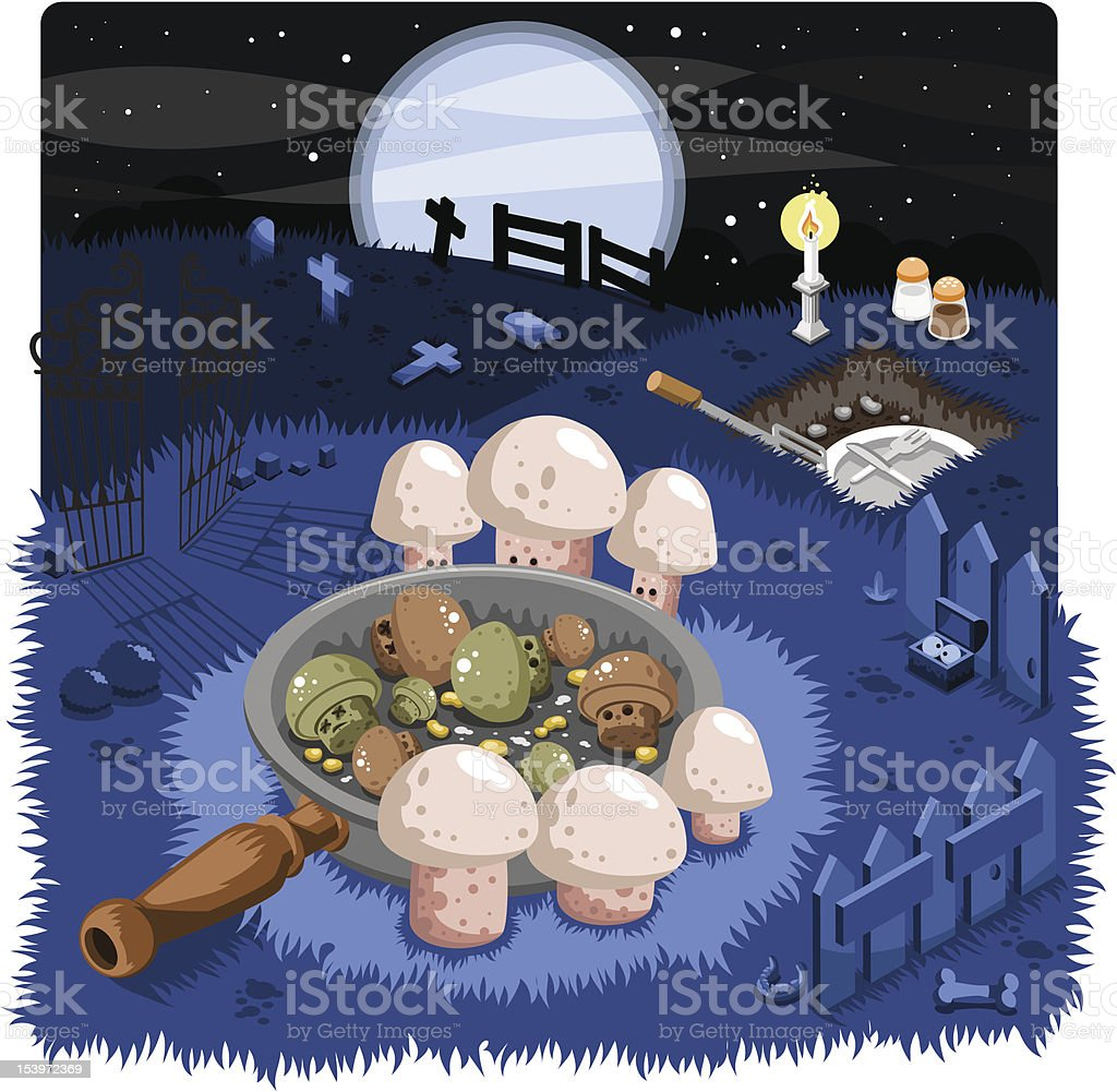 Fried and frightened on the graveyard vector art illustration