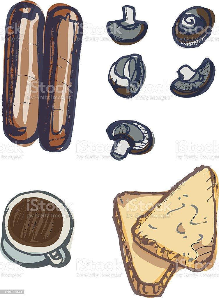 Fried Breakfast items, Sausages, Mushrooms, Coffee, Hash Browns vector art illustration