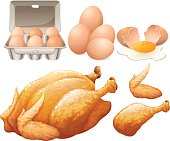 Fried chicken and fresh eggs