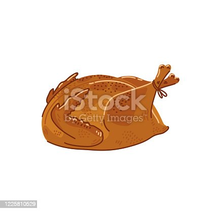 Fried chicken. Cooked whole chicken on white background. Simple flat style vector illustration