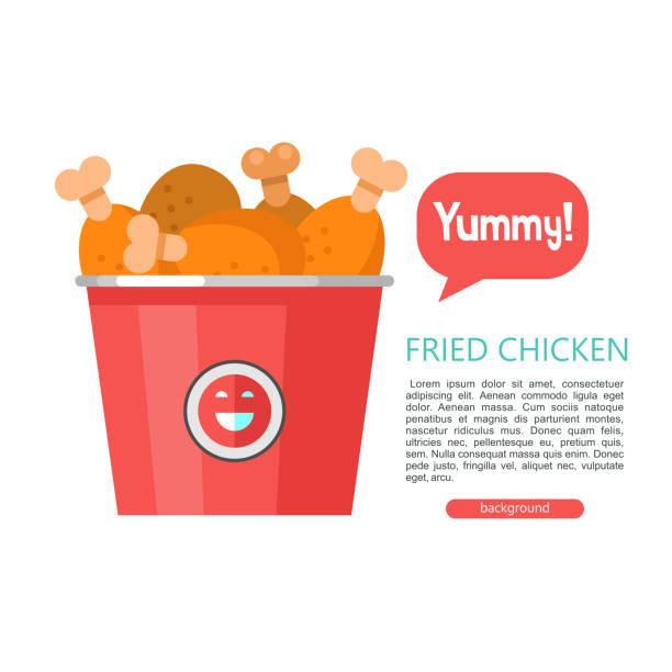 stockillustraties, clipart, cartoons en iconen met gebakken kip. heerlijke fastfood. vectorillustratie in vlakke stijl. - chicken bird in box