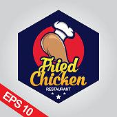 Fried chicken design template for restaurant badge