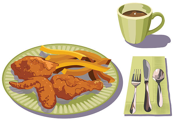 Fried Chicken Clip Art: Royalty Free Plate Of Fried Chicken Clip Art, Vector