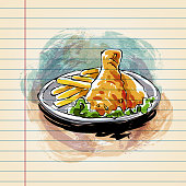 Drawing of Fried Chicken  in watercolour style on ruled paper. Elements are grouped.contains eps10 and high resolution jpeg.