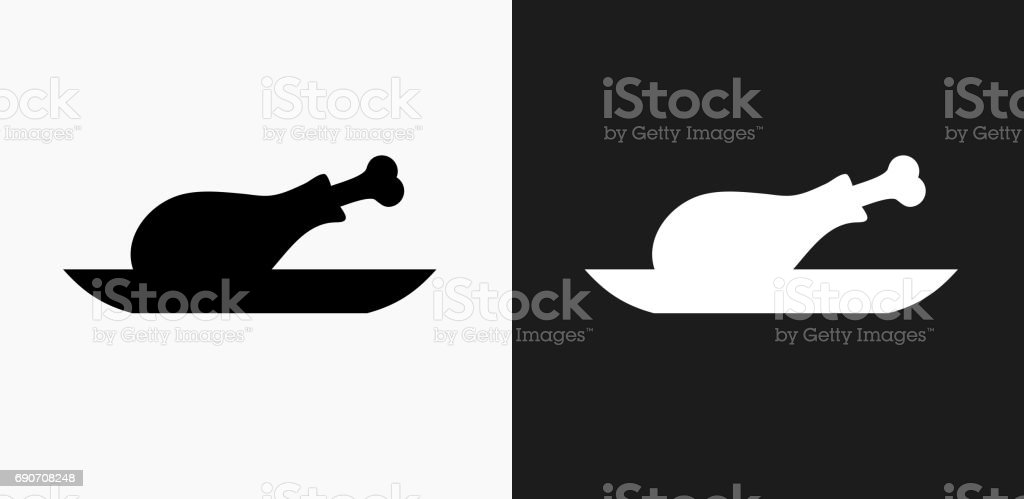 Fried Chicken Icon on Black and White Vector Backgrounds vector art illustration