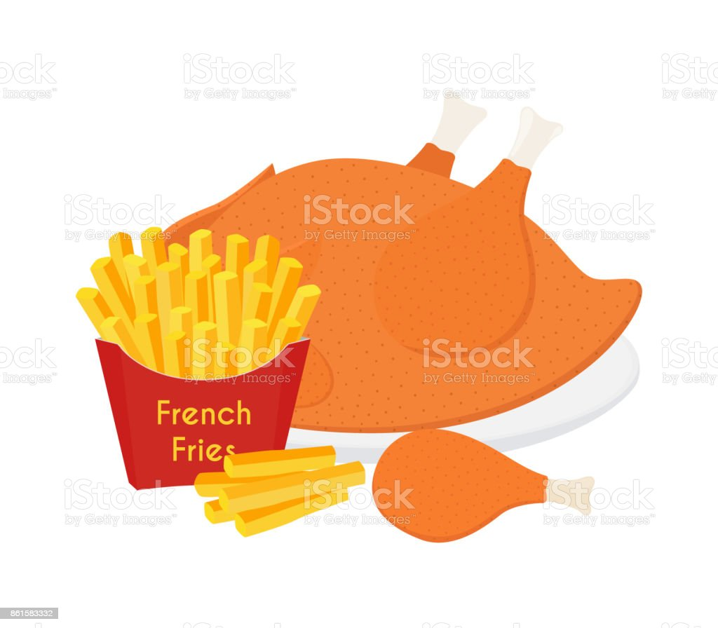 Fried Chicken Legs Wings French Fries Cartoon Flat Style Vector Royalty