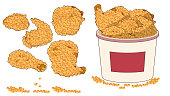 Fried Crispy Chicken Strips. Illustration of Fast Food. Urban lifestyle.