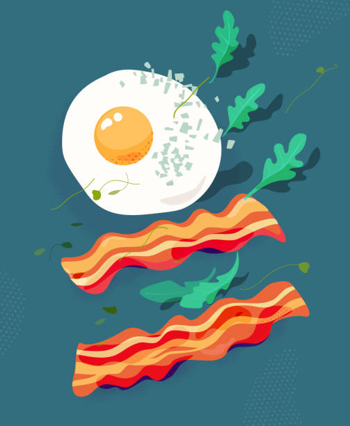 stockillustraties, clipart, cartoons en iconen met gebakken ei en spek, rucola. ontbijt vectorillustratie. - tafel restaurant top