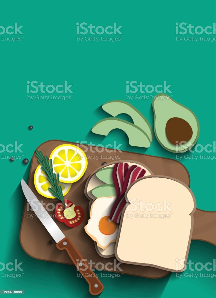 Fried egg and bacon Sandwiches top view. vector art illustration