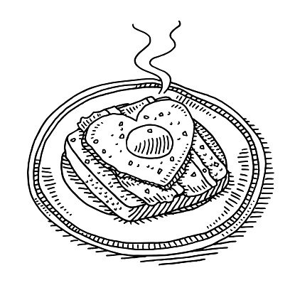 Fried Egg And Ham On Toast Breakfast Drawing