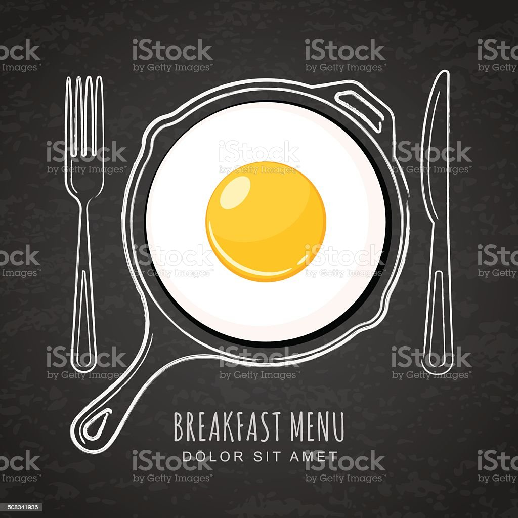 Fried egg and hand drawn watercolor pan on black background. vector art illustration